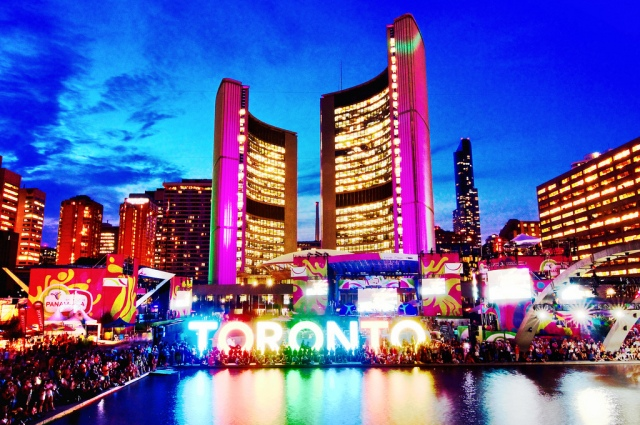 Celebrating the 2015 Pan AM Games in Toronto, Canada