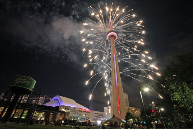 Fireworks off of the CN Tower!